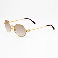 Wholesale Metal Frame Glass Lenses Sunglasses - Luxury Metal Frame Sunglasses Brands for Men Women Retro Brand Designer Sun Glasses Full Rim Glasses Gold Frames with Original Box
