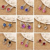 Wholesale Hook Diamond Earrings - Korean fashion color Gem Diamond Earrings Ear Hook Earrings wholesale Boxed