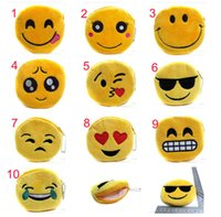 Wholesale Money Bag Pendants - Emoji Plush Coin Purses 11cm Wallet Women Lady Girl Cute QQ Expression Money Bag Pendant Zipper Totes Kids Creative Party Christmas Gift
