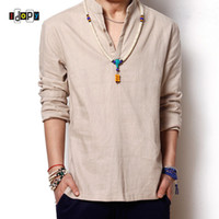 Wholesale Traditional Chinese Men S Shirt - Wholesale- Summer Men`s Linen Cotton Blended Shirt Mandarin Collar Breathable Comfy Traditional Chinese Style Popover Henley Shirts For Men