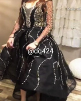 Wholesale Prom Ball Gowns Sleeves - 2017 Luxury Black Prom Dresses with Silver Crystal Beaded Ball Gown Hi Lo with Deep V Neck and Sheer Long Sleeves Cocktail Gowns Party Dress
