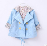 Wholesale Collared Hoodies Girls - Baby girls princess overcoats toddler kids Leopard collar Hoodies Cardigan coat kids button front pocket windbreaker 2017 new clothes G0318