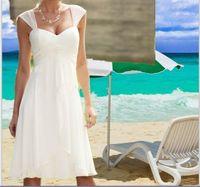 Wholesale Casual Empire Waist Wedding Dress - 2017 Cap Sleeves Sweetheart Beach Wedding Dresses Pleated Empire Waist Knee Length Chiffon Casual Short Bridal Gown Custom Made