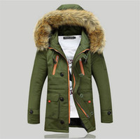 Wholesale Winter Jacket Fur Hood Mens - Wholesale- 2015 New Winter Mens Parka Clothing Thicking Men Jacket Coat With Fur Hood high Quality Jackets Men plus size Vestidos hot sale