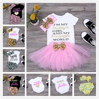 Wholesale American Girl 14 - Ins baby girls rompers short Baby Arrow print Romper Fruit Print headband outfits Infant Lace Pink Tutu Skirt for babies 14 Types KST22
