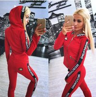 Wholesale Womens Red Shirts - Hot Sale pink Women's Tracksuits spring style sweat shirt Print tracksuit women Long Pants Pullover Tops Womens set Women Sport Suits