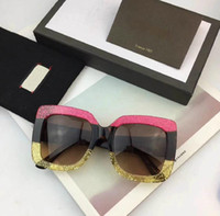 Wholesale Ladies Leg Sunglasses - New fashion lady sunglasses g large square frame hot lady popular design crystal sequins color legs top quality uv protection eyewear
