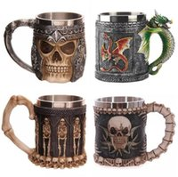 Wholesale Skull Knight - Funny Coffee Cup Cool 3D Skull Wolf Mug Resin Stainless Steel Pirate Knight Drinking Grip Creative Drinkware TOP1795AAA