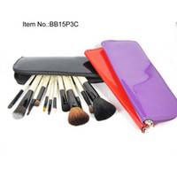 Wholesale Make Up Brush Purple 16 - Free Gift!!!New Fashion 16 PC Cosmetic Make up Brush Set Tools with Purple red black Leather Case