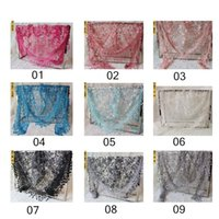 Wholesale Sweet Ladies Fashion - Wholesale 2017 New Fashion Lace fringed Lace Triangle Scarves Wraps 18colors For Sweet Lady and Girls