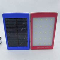 Wholesale Solar Charger Back - Solar Power Bank 30000mAh Dual USB Solar Charger battery with 20pcs LED lamps at Back Side can Camping Lighting lamp