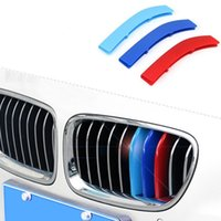 Wholesale Bmw Series Accessories - 3Pcs Set ABS Car Front Grill Trim Strips Cover Sticker Decal Car Styling Accessories For BMW 3 5 Series F10 F18 F30 F35