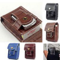 Wholesale Lighter Cigarette Case Box Holder - Men Women Crocodile Pattern Genuine Leather Cigarette Case Wallet With Lighter Holder Waist Belt Loop Cigarette Box