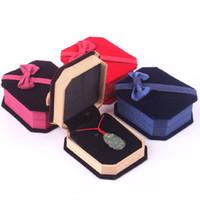 caixas para anéis venda por atacado-Recém-chegados caixas de jóias de embalagem colares pingente de veludo anel brincos elegante clássico luxo Show Case Box 78 * 67 * 30 MM