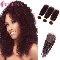 Wholesale bohemian kinky curly hair resale online - sexy brazilian kinky curly hair inch brazilian deep wave red human hair j bohemian curly hair wine red bundles
