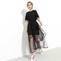 Wholesale Crew Neck Short Sleeve Elastic - 2017 Summer Fashion New Solid Color O-neck Short Sleeve Elastic Waist Stitching Lace Loose Dress Women R00001