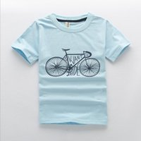 Wholesale Bicycle Print Shirt - 3 Color Kids Boys Girls Cotton T-shirts Children Bicycle Printed Tops T shirts Girls Clothing Teenage Clothes Tees Outwear 4-14T