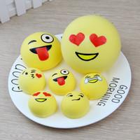 Wholesale Cute Bread - 4cm 7cm 10cm Kawaii Jumbo Bread Cake Squeeze Emotion Emoji Squishy Slow Rising Stretchy Charm Cute Pendant Kid Toy Gift Strap