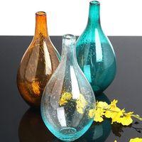 Wholesale Blow Table - Zakka Nordic style ocean blue bubble glass vases Hand-blown flower vases table vase Home Decoration
