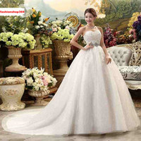 Wholesale Strapless Empire Maternity Wedding Dress - New Maternity Bride Sexy White Gown Wedding Dresses Strapless Lace-Up Train Women Married Crystal A-Line Dresses Tiered Skirt Plus Size