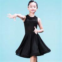 Wholesale Girl Suit Dance Costume - 2Color NEW children's Latin Dance Dress Girls Sweet lace Rumba Tango Sasa Samba ballroom performance suit competition Latin Costume Suit 002