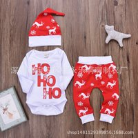Wholesale Red Baby Onesies - 2017 Christmas Baby Rompers Clothing Sets Boys Girls Toddler Romper Pants Caps 3Pcs Santa Autumn Infant Onesies Boutique Clothes Hohoho