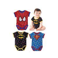 Wholesale Batman Rompers - Suncity Summer Short Sleeve rompers Superman Spiderman Batman kids boy and girl Wholesale
