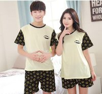 Wholesale Summer Lovers Sleepwear - Wholesale-New summer cute cartoon couple Sleep Lounge sleeveless pajamas for women and men Pajama Sets lovers sleepwear woman pijama G0122
