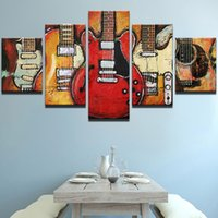 Wholesale Music Paintings Canvas - Modern Canvas Painting HD Printed Wall Art Frame Modular Pictures 5 Pieces Abstract Guitar Music Poster Living Room Decor
