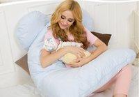 almohada de vientre al por mayor-Al por mayor- Almohadas para el cuerpo Sleeping Pregnancy Pillow Belly Contoured Maternity U en forma de cubierta extraíble 130 * 70cm
