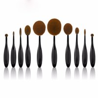 Wholesale Elite Hairs - 2017 AAA Toothbrush Beautiful Stylish Cosmetic Elite Black Oval Professional Makeup Brushes Set Golden Powder Foundation Contour 10Pcs  Lot