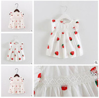 Wholesale Dress Strawberry Baby - Girl Dresses 2017 Summer Baby Strawberry Bowknot Printing Dresses Infant Cartoon Princess Dress Boats Sleeve Embroidered Kids Clothing