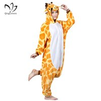 Wholesale Cute Sexy Pajamas For Women - Giraffe Pajamas Sets Unisex Flannel Hoodie Sleepwear Cosplay Animal Cartoon Cute Onesies Pajamas Hooded For Men Women Child