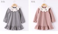 Wholesale New Small Girls Dresses - 2017 Autumn New Girls Princess Dresses Collar small tree striped Long Sleeve Dress Children Clothing 2-7Y 317984