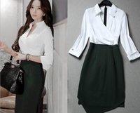 Wholesale Korea Work Dress - New Korea OL Slim was thin two pieces of irregular stitching dress