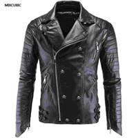 Wholesale leather punk jackets men - Wholesale- MIXCUBIC spring punk style skull PU leather jackets men black casual slim skull Splicing PU leather jacket for men size M-5XL