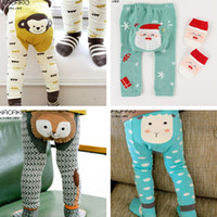 Wholesale Two Cute Babies - trousers tights pants kids Leggings Pants boys girls baby clothes 10 color clothing Cute cartoon leggings socks two sets 1553