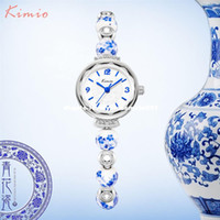 Wholesale China Brand Women Watches - KIMIO Retro Really Chinese Ceramic Watch Blue And White Porcelain China Auspicious Pattern Bracelets Women Watches Luxury Brand