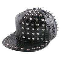 Wholesale Spike Rivet Snapback Cap - wholesale spiked rivet nail handmade snakeskin leather luxury brand snapback for women men white black novelty baseball cap hats