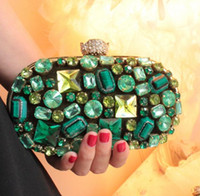 Atacado-New Vintage Women's Emerald Jóias Embreagem Bolsas Handmade Beaded Green Gem Lady Evening Bag Casamento Festa Banquete Purses 845tp