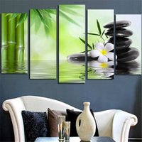 Wholesale Cheap Wall Art Paintings - New Cheap Bamboo Stone Scenery Modern Art Painting HD Printed Canvas Paintings Room Wall Pictures 5 pcs Unframed
