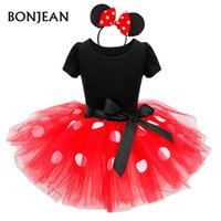 Wholesale Cartoon Minnie Mouse - 2017 Summer New minnie mouse kids dress princess costume party children clothing Cosplay Girls Minnie Dress+Headband Baby