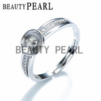 blank ring settings mountings - 5 Pieces Ring Semi Mount DIY Jewelry Findings Zircon Sterling Silver Pearl Setting Ring Blanks