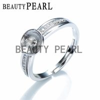 Wholesale Setting Semi Ring Mount - 5 Pieces Ring Semi Mount DIY Jewelry Findings Zircon 925 Sterling Silver Pearl Setting Ring Blanks