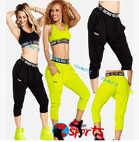 Wholesale Harem Capri Woman Pants - Hot Fitness Wear Brand New samfitness clothes Never Stop Dancing Harem Capri Pants free shipping
