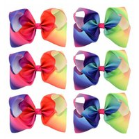 8 Inch Large Kids Baby Girl Grosgrain Ribbon Bow Clips Rainbow New Design Acessórios para cabelo infantil