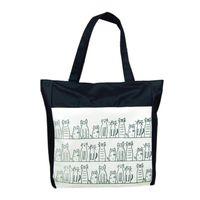 Wholesale modern cell - Wholesale- Modern Canvas Cartoon cat Pattern Girls Shopping Shoulder Bags Handbag Beach Jn9