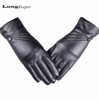 Wholesale Long Faux Fur Gloves Fingerless - Wholesale- 2015 Fashion Leather Gloves Full Finger Glove for Women Winter Mittens guantes mujer long luvas Kiss Screen luva G-33