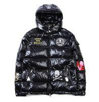 Wholesale Shiny Black Coats - Men's Popular Logo Warm Hoodies Jacket Winter Fashion Thick Skulls Shiny Cotton-padded Cothes Men Hooded Down Cotton-padded Jacket Coat Tops