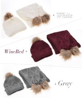 Wholesale Wholesale Scarf Yarn Knitted - Wholesale-2017 Winter Warm Women Fashion knitted Scarf and Hat Set High Quality Crochet Cap Beanie Ski Hat Ball Sarves +Hats